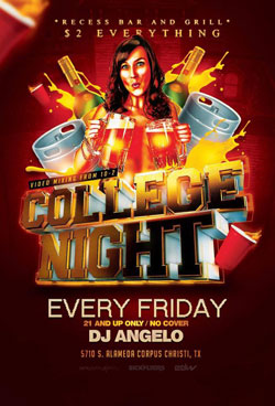 College Night at Recess Bar & Grill in Corpus Christi, Texas.