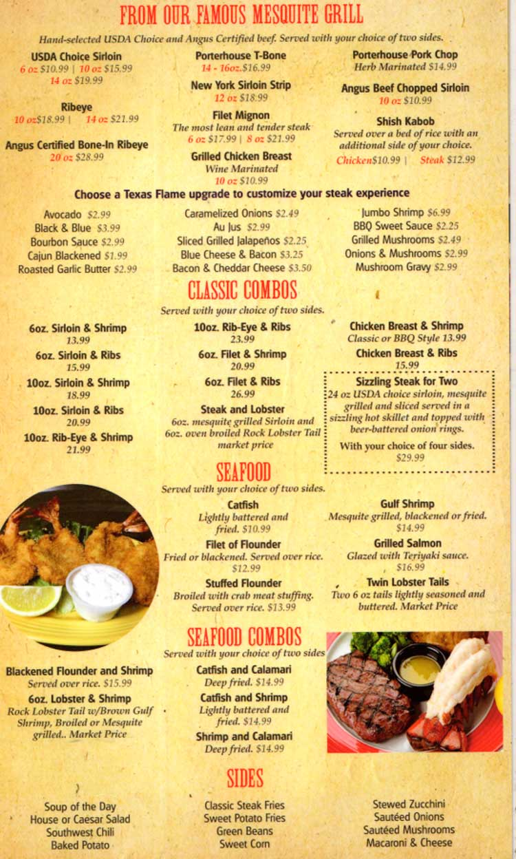 Texas Flame Steakhouse Restaurant Menu in Corpus Christi, Texas.